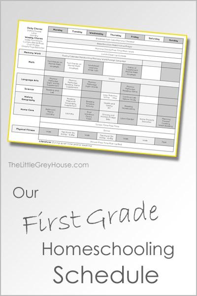 First Grade Homeschooling Schedule